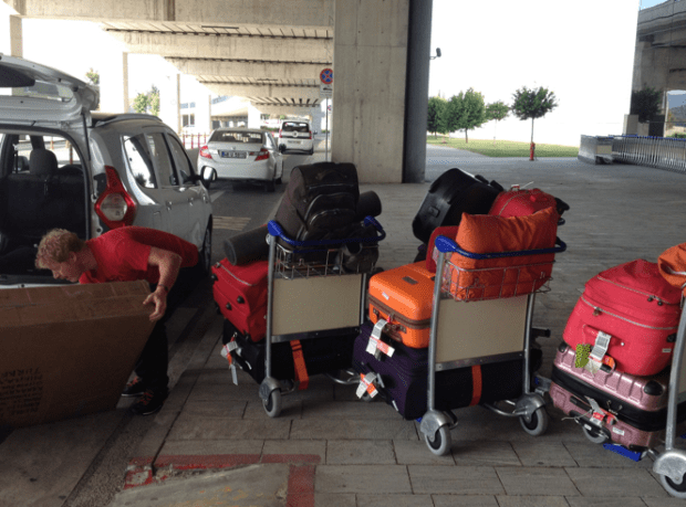 Bodrum International Terminal with our luggage