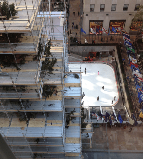 View of the Rockefeller ice skating rink from the cafe