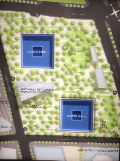 Map of One World Trade Centre and the 9/11 Memorial and Museum