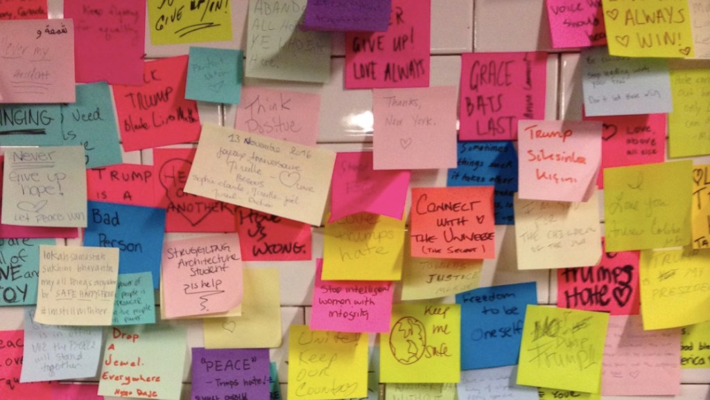 Union Square Post It Wall