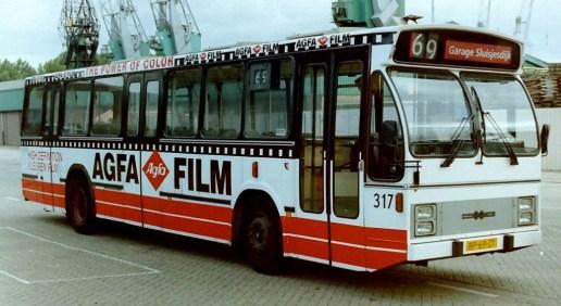 Bus 317, DAF-Hainje CSA-2, Sluisjesdijk, totaalreclame AGFA, 1986