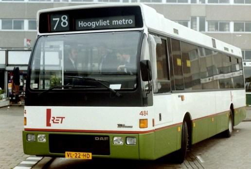 Bus 484, DAF-Den Oudsten, lijn 78, Langs de Baan Hoogvliet, 1991