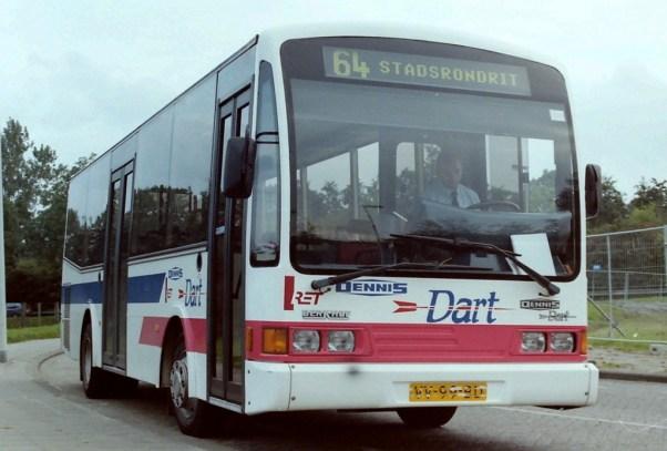 Berkhof-Dennis Dart midi-bus op proef bij de RET op lijn 64 (metrobus Rhoon),  1-12-1995 t/m 15-12-1995, VV-99-BD