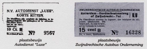 Plaatsbewijzen van autodienst Luxe en de Zwijndrechtse Autobus Onderneming.