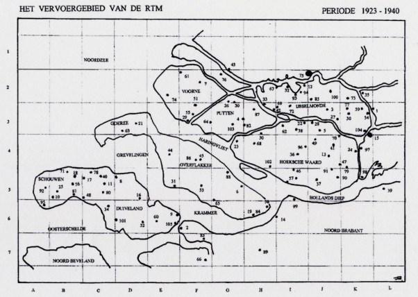 Het vervoersgebied van de RTM 1923-1940