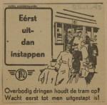 19430125 advertentie eerst uit- dan instappen, verzameling Hans Kaper