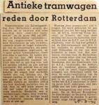 19460825 Antieke tramwagens reden door Rotterdam
