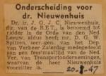19470120-Onderscheiding-Nieuwenhuis, Verzameling Hans Kaper