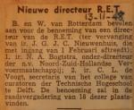 19481113-Nieuwe-directeur-RET, Verzameling Hans Kaper