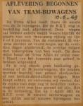 19490610-Aflevering-tram-bijwagens-begonnen, Verzameling Hans Kaper
