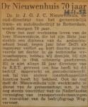 19520114-dr.-Nieuwenhuis-70-jaar, Verzameling Hans Kaper
