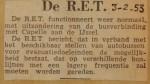 19530203-RET-functioneert-weer-normaal, Verzameling Hans Kaper