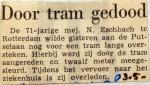 19580503 Door tram gedood Putselaan