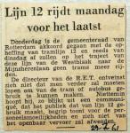 19610729 Lijn 12 rijdt maandag voor het laatst