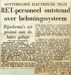 19611120 RET personeel ontstemd over beloningssysteem
