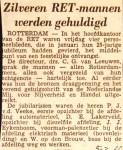 19660205 Zilveren RET mannen gehuldigd.