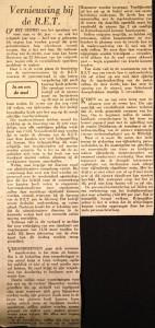 19670401 Vernieuwing bij de RET. (NRC)