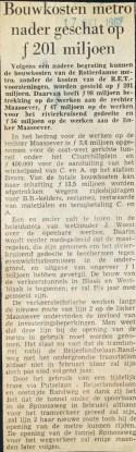 19671017 Bouwkosten metro 201 miljoen.
