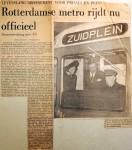 19680209 Rotterdamse metro rijdt nu officieel