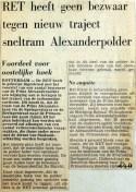 19680404 Geen bezwaar RET tegen traject naar Alexanderpolder