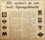 19680413 Alle metro's in boek bijeen (Rotterdammer)