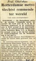 19680507 Rotterdamse metro slechts remmende ter wereld