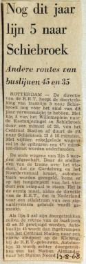 19680819 Nog dit jaar lijn 5 naar Schiebroek