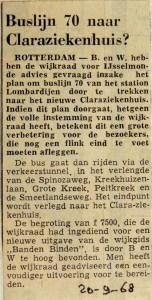 19680920 Buslijn 70 naar Claraziekenhuis