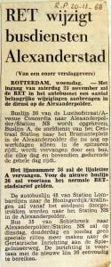 19681120 RET wijzig busdiensten Alexanderstad (Parool)