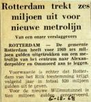 19681206 Rotterdam trekt 6 miljoen uit voor nieuwe metrolijn