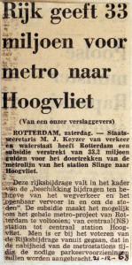 19681221 Rijk geeft 33 miljoen voor metro naar Hoogvliet