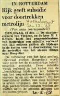 19681221 Rijk geeft subsidie voor doortrekking metrolijn (Volkskrant)