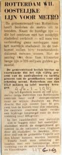 19690106 Rotterdam wil oostelijke lijn voor metro