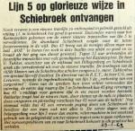19690129 Lijn 5 glorieus ontvangen in Schiebroek