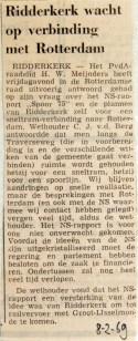 19690208 Ridderkerk wacht op verbinding met Rotterdam