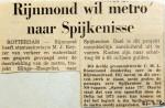 19690221 Rijnmond wil metro naar Spijkenisse