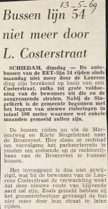 19690513 Lijn 54 niet meer door Costerstraat.