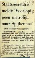19690617 Voorlopig geen metro naar Spijkenisse