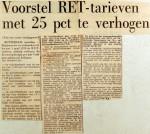 19691201 Voorstel RET tarieven met 25 pct te verhogen