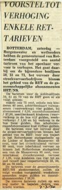 19700307 Voorstel tot verhoging enkele RET tarieven