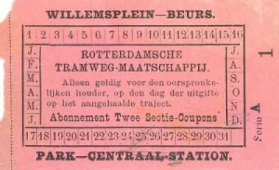 Coupon voor abonnementhouder geldig voor twee secties. In dit geval voor de trajecten Willemsplein - Beurs of Park - Centraalstation. De afmetingen van het origineel bedragen 75x50 mm.