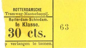 De prijs voor het afleggen van het gehele traject van de stoomtram naar Schiedam kostte oorspronkelijk 30 cent in de eerste klasse. Als kleur voor de  biljetten had men net als spoorwegen in die periode geel voor de eerste klasse gekozen.