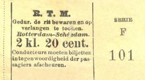 Biljet voor een reis in de tweede klasse van Rotterdam naar Schiedam.