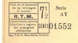 Enkele reis voor het stadsnet tegen een eenheidstarief van 7,5 cent. De naam van de drukkerij is aan de onderzijde van de biljetten vermeld.