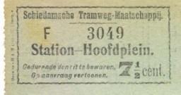 Voor het gehele traject in de tegenrichting Station - Hoofdplein werd vanaf 1906 een groen biljet van 7,5 cents uitgegeven.