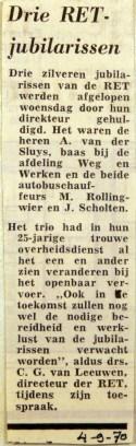 19700904 Drie RET jubilarissen