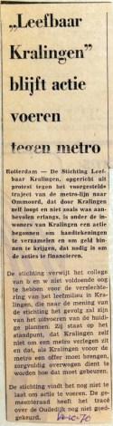 19701014 Leefbaar Kralingen blijft actie voeren tegen metro