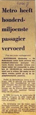 19710304 Metro honderd-miljoenste passagier.