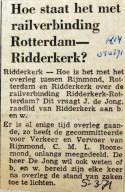 19710305 Hoe staat het met railverbinding Rotterdam-Ridderkerk (RN)