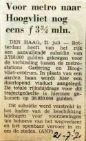 19710721 Voor metro Hoogvliet nog eens 3,75 miljoen